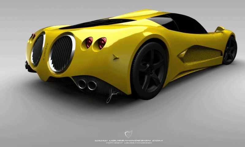 Ugur Sahin Design HYPERCAR bugatti possible round vents GIF